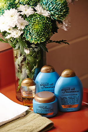 argan oil aplenty; kerrie relies on the range to appease the affects of stage hair