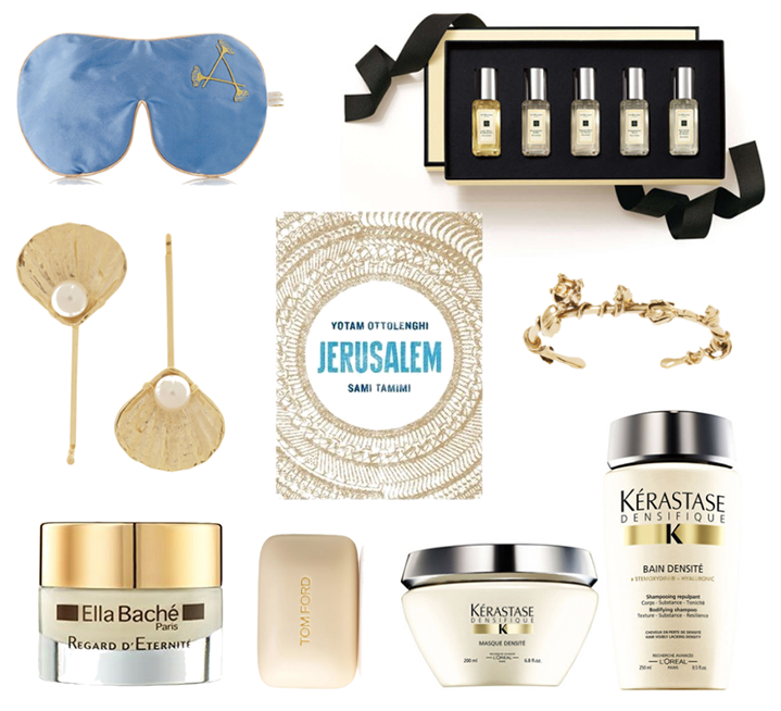 Aromatherapy Associates Relax Eye Mask, Jo Malone Cologne Collection, Rosantica Profondo Gold Tone Pearl Hair Slides, Jerusalem by Yotam Ottolenghi and Sammi Tamimi, Aurelie Bidermann Majorelle Gardens Bracelet, Ella Bache Regard d'Eternite Eye Cream, Tom Ford Soap, Kerastase Densifique Bain and Masque Densité plus Mother's Day Gift Pack