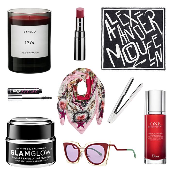 Byredo 1996 Candle,Chantecaille Lip Chic Lipstick in Amaryllis,Alexander MqQueen Scarf,Benefit Bad Gal Lash Mascara,Givenchy Scarf,GHD Opal,Glam Glow mud mask,Fendi SUNGlasses,Dior One Essential