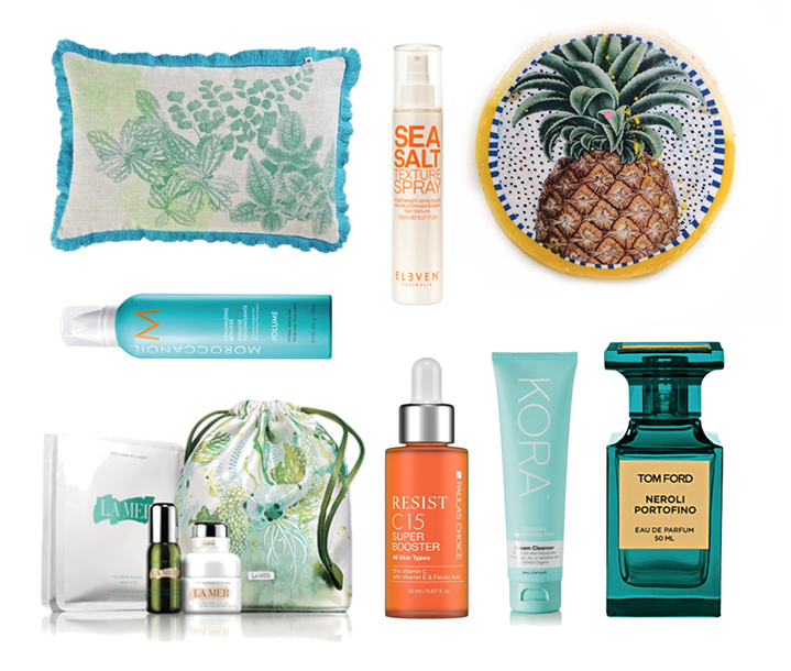Bonnie and Neil Cushion, Eleven Australia Sea Salt Spray, Jai Vaiscek Pineapple Porthole, Moroccan Oil Rootbooster Mousse, La Mer The Refreshing Collection, Paula's Choice C15 Super Booster, Kora Organics Cream Cleanser, TOM FORD NEROLI PORTOFINo
