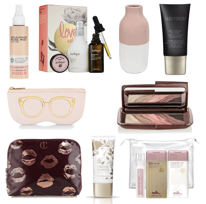 ModelCo Rose Mist, Jurlique Indulgent Face Care, Madras Link Dip Dye Pink Vase, LAURA MERCIER SILK CREME PHOTO EDITION FOUNDATION, Rebecca Minkoff Sunnies Pouch, Hourglass Modernist Eyeshadow Palette, Charlotte Tilbury Signature Coated Twill Make Up Bag, creme simon brightening detox, Milk by Lindy Klim Gift Pack