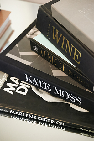 fashion and wine books decorate the apartment