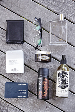 grooming goods: bay rum after shave, lynx and fragrance
