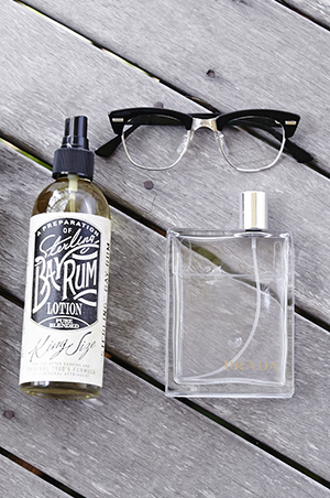 sterling bay rum aftershave contains cloves and alcohol to freshen and tighten the skin