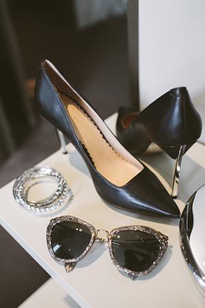 stylish tastes; Target black points, silver bangles and miu miu shades