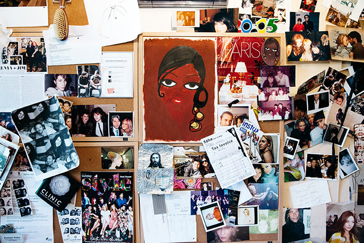 Famous faces; photos of celebrity clients, family and friends line Renya's home office