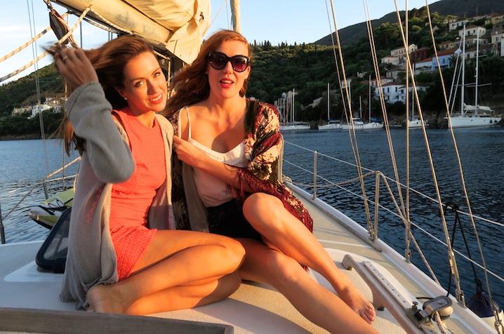 Sigourney (with friend Josie) wears dress by Rebecca Valance