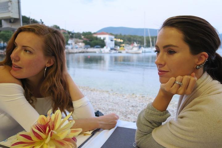 In a taverna in Kioni on the Island of Ithaca,Greece. Sigourney wears Sarina Suriano Ear Cuff.
