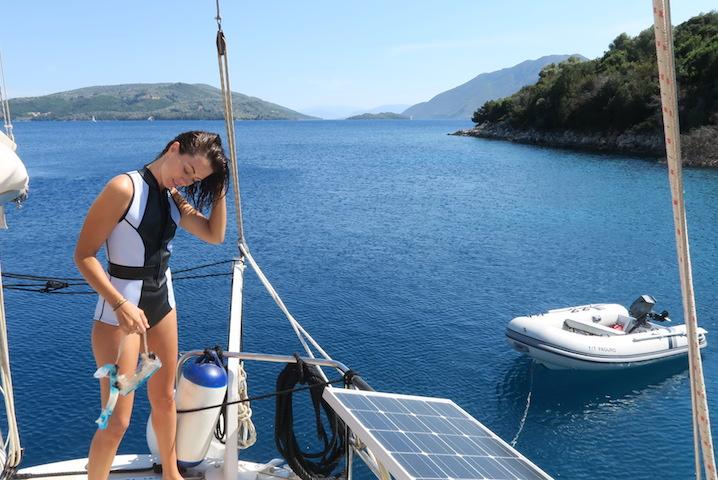 Sigourney wearingDuskii Active swimsuit snorkelling