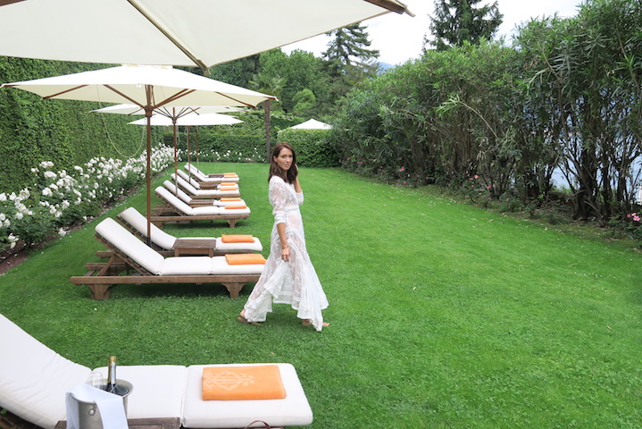 "Sigourney wears Zimmermann, in the ""Flower Garden"" at the Grand Hotel Tremezzo"