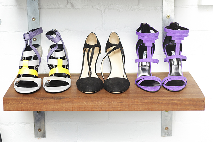 En point: heels for the shoot from Shopbop.com take pride of place