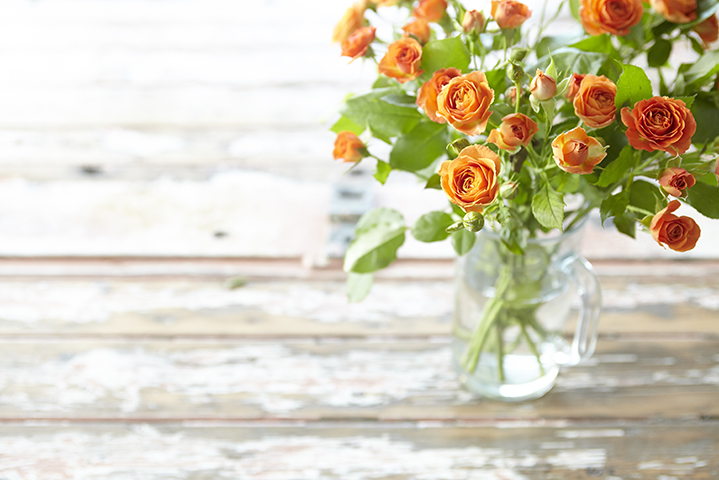 Fresh flowers adorn the dining room table