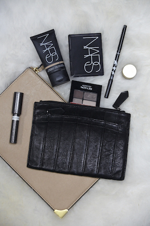 in her clutch - nars, revlon eyeshadow and more