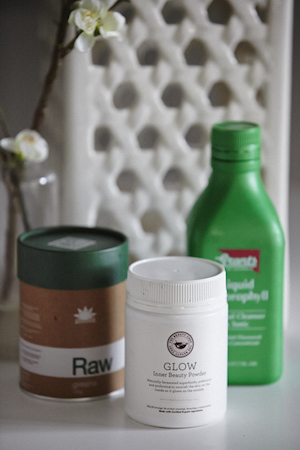 protein powder, the beauty chef's glow powder and liquid chlorophyll for inner health