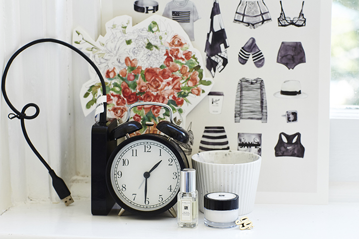 Pretty things aplenty; whimsical bouquets, a kitsch alarm clock and Jo Malone