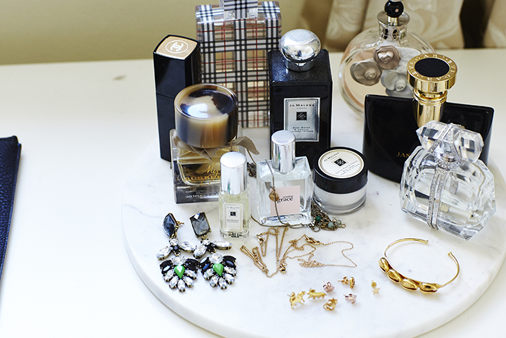 A pretty plate of Sally's favourite fragrances and jewelled treasures for a night out
