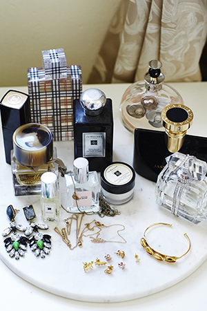 good bedside manner; perfumes and golden jewelLERY
