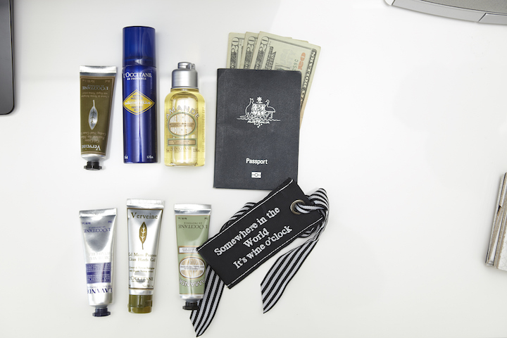 In Sami's carry on - L'Occitane minis, a passport and cash.