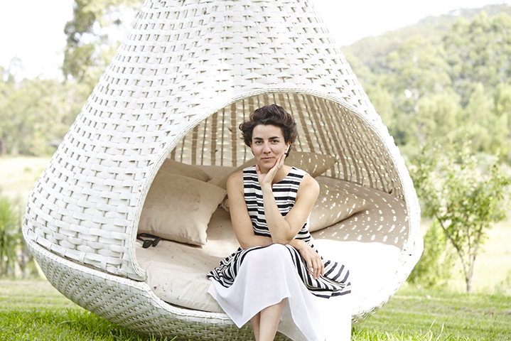 A hanging cocoon-like day bed is the place for quiet reflection