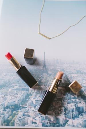 marc jacobs lipsticks, le tour eiffel and by jasmin's golden wanderlust pendant