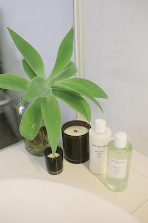 bathtub essentials include sachajuan hair care, candles anda fresh agave