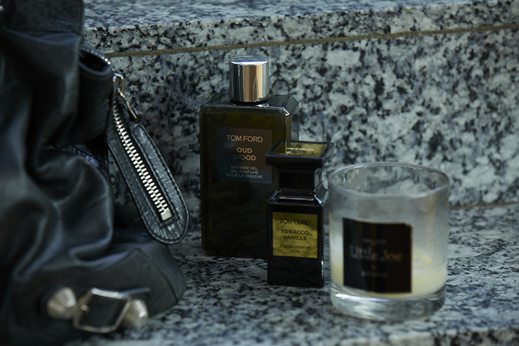 Dark romance; Balenciaga leather, Tom Ford Oud Wood and Little Joe candle