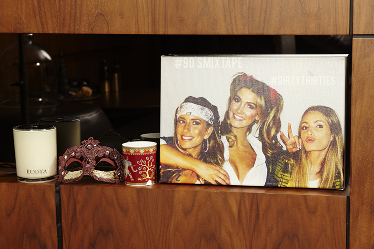 A special candle, mask and mug from home plus a photo from Delta's 30th with her besties: Renee Bargh and Danielle Cox