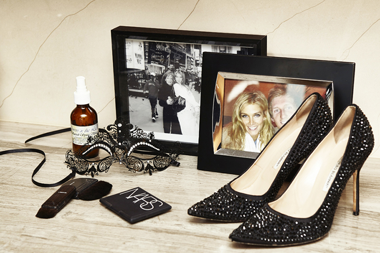 Bejewelled shoes and photos of Delta with her mum and brother