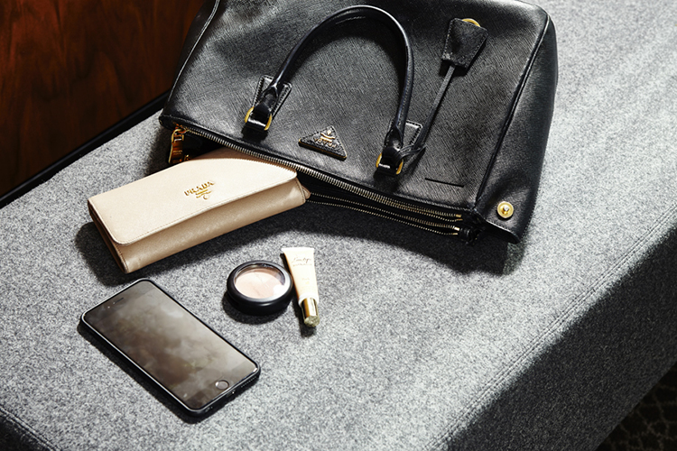 Delta's Prada handbag and wallet and iphone