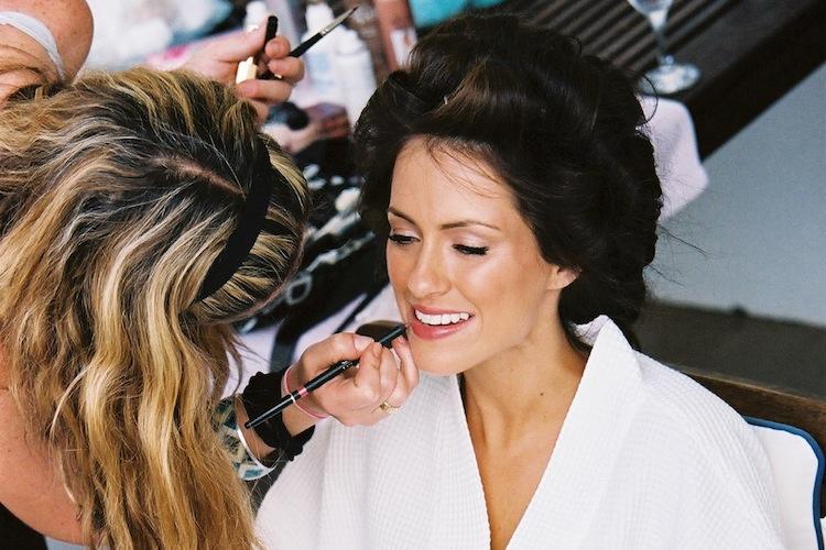 Makeup artist Claire Thomson does Sigourney's makeup