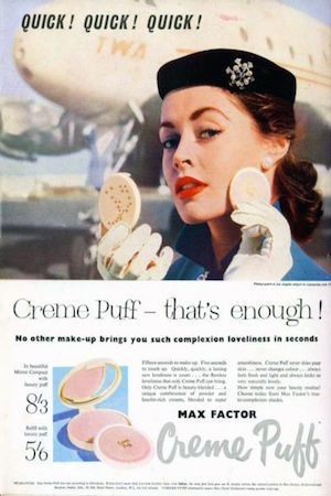 A 1950's advertisement for max factor creme puff