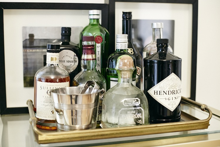 A well stocked bar is always at the ready
