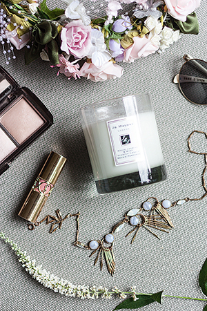 Hourglass Ambient Lighting Palette, YSL lipstick and Hannah's favourite Jo Malone White Jasmine and Mint Scented Candle.