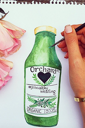 Illustration by Hannah for a wedding collaboration between her cousin Jessica Sepel and Orchard St Juices.