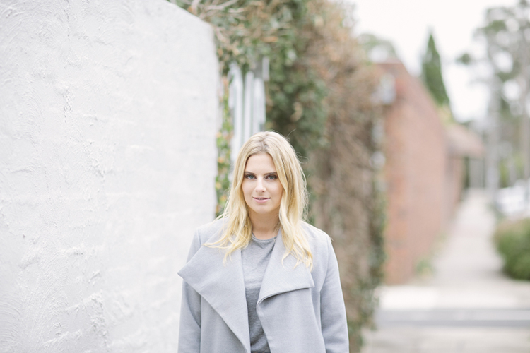 Laneway lady; Lisa is chic in grey marle
