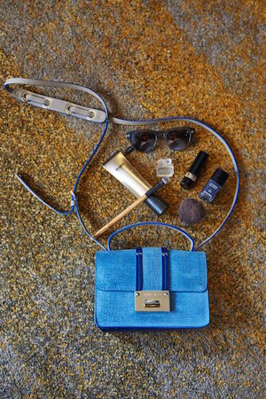 blue baby; dr jart's bb beauty balm, dolce lipstick, makeup brushes, cool frames and a jimmy choo bag to house them all