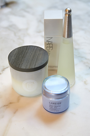 freshen up; nars skin toner, laneige water sleeping mask and a circa home candle