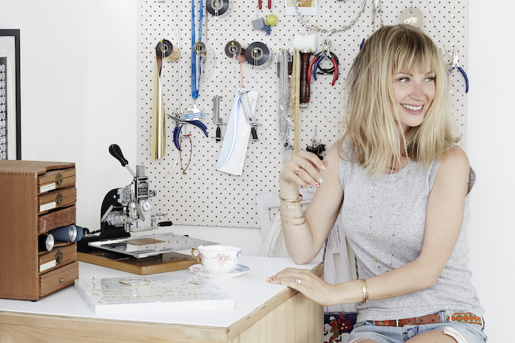 Emma in her jewellery studio
