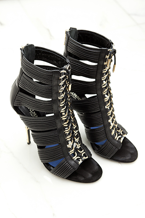puttng her best foot forward in these balmain beauties