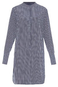 Equipment Ian Collarless Striped Silk Shirtdress $551