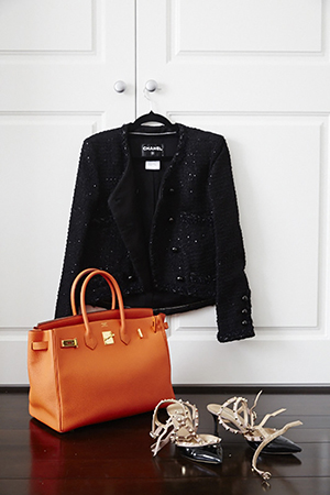 Birkin and Chanel - the glamorous businesswoman has a keen eye for sharp detailing