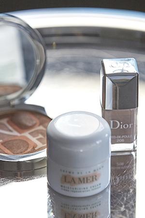 in the nude; diorskin, dior polish and la mer