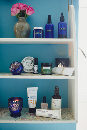 josie's creatively curated bathroom cabinet