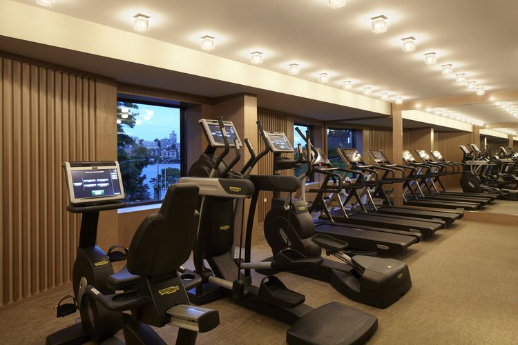 The Park Hyatt's Gym boasts sleek cardio and strength equipment and sweeping views of Sydney's harbour.