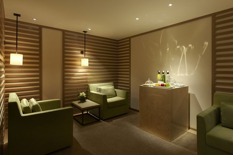 The Park Hyatt's Relaxation Room features a spread of teas and snacks