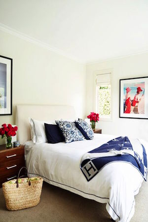 Shelley's fresh white bedroom is a haven of peace.