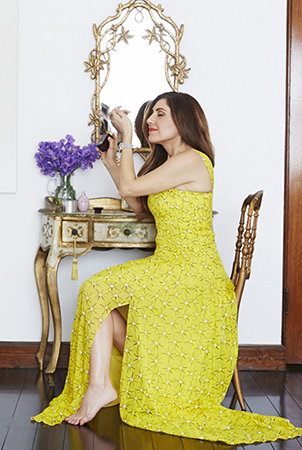 Sensual spritzes: Bahar loves a rich, opulent scent. Bahar wears dress by Diane Von Furstenberg.