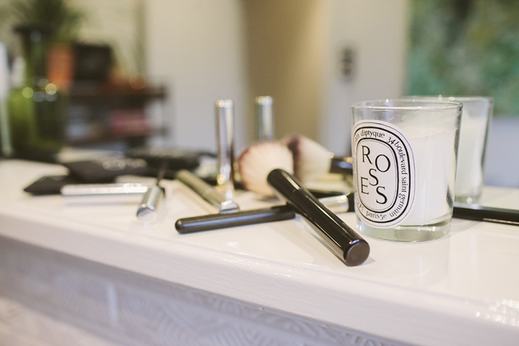A beautiful beauty mess featuring By Terry Mascara, Hourglass brushes and Diptyque's divine Roses Candle