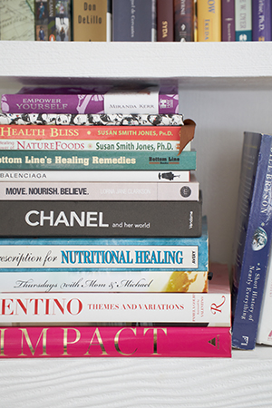 Miranda's collection of books display a long standing love for health, spirituality,beauty and fashion