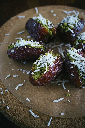 PISTACHIO-STUFFED DATES WITH COCONUT by Simple Provisions